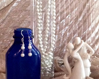 Pearl and Blue Swarovski Crystal Earrings