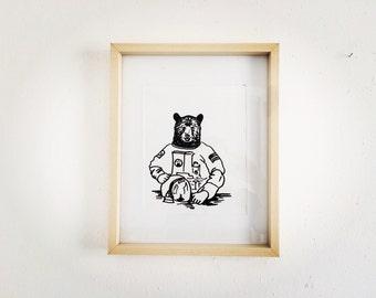 Space Bear! Astronaut Bear Original Illustration