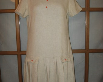 1960s ILGWU Linen Drop-waist Pleated Dress Size Small