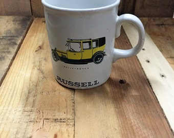 Vintage Purbeck Ceramics Mug - Yellow Rolls-Royce / RUSSELL / Swanage England / Made in England