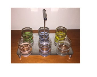 Retro Harlequin Sherry or Shot Glasses, Set of 6 and Stainless Steel Caddy - 1950's