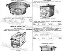 DIGITIZED Vintage Catalog Page of Martinware Wash Boilers Tubs for INSTANT DOWNLOAD, File Types: tif, jpeg, pdf, file #834