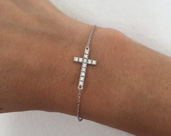 Diamond Cross Bracelet, Cross Bracelet, Diamond Bracelet, Cross Jewelry, Religious Jewelry, Diamond Cross, Cross Charm, Arm Party