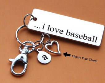 Personalized Baseball Key Chain I Love Baseball Stainless Steel Customized with Your Charm & Initial -K183