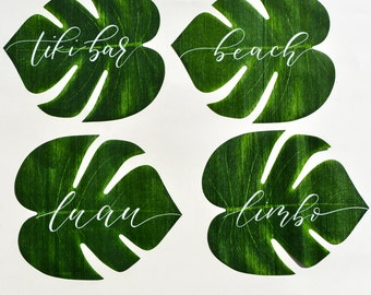 Tropical Luau Leaf Place Cards or Table Numbers with Handwritten Calligraphy