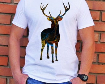 Deer T-shirt - Art Tee - Fashion T-shirt - White shirt - Printed shirt - Men's T-shirt - Gift