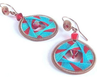 Handmade copper earrings, Cotton earrings, red and blue earrings, thread weaving, Valentine' s day gift, boho and hippie style