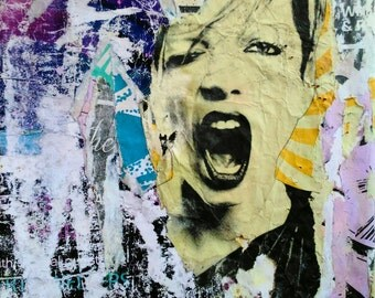 Art print/decollage/Oh Shirley/handmade/Shirley Manson/torn poster/gift ideas