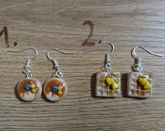 Homemade pancake/waffles earrings