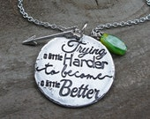Inspirational necklaces: Try a Little Harder Motivational Jewelry, Meaningful Gifts, necklace with words