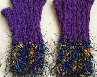 Fancy Cabled Fingerless Gloves-purple