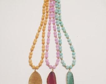 Springtime Oval Beaded Necklace