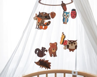 Baby mobile Nursery decor Baby mobile woodland Crib mobile Forest baby mobile Forest animals décor Forest nursery mobile Nursery mobile