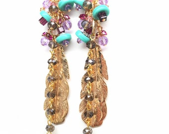 Stevie - Shoulder Dusting Gold Feather Earrings with Turquoise and Swarovski