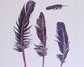 Untitled (four feathers print in red + blue ink)