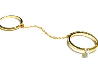 Chain Linked Ring, Double Ring, Rhinestone Ring, Gold Ring, Thin Ring