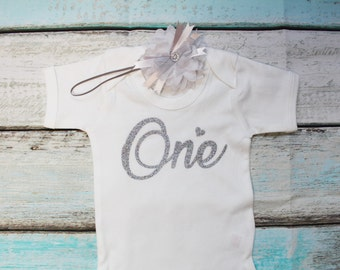 One First Birthday Silver Glitter Print Vest Bodysuit Onesie And Headband Set Outfit