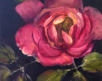 """Rose floral original oil painting, Realistically painted, Black background, 7"""" x 7"""", Framed, ready to hang, by artist Julia Watson"""