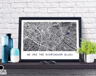 Birmingham Football Poster, Football Poster, Football Print, gift, Map Print