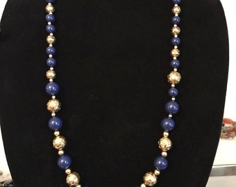 Vintage YSL Yves Saint Laurent blue and gold beaded necklace