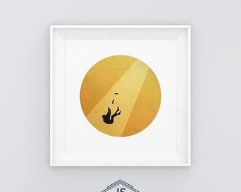 Icarus - Printable digital illustration. Greek mithology. Minimal - retro.