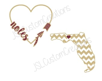 Florida State SVG, Heart, Spear, FSU, Noles, Garnet & Gold, Florida, Chevron, Seminoles, PNG, eps file, dxf file