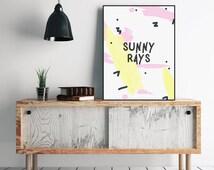 Sunny Prints, Instant Download, Trending Now, Pink Wall Art, Nursery Print, Kids Decor, Bedroom Wall Art, Printable Art, Fun Wall Print