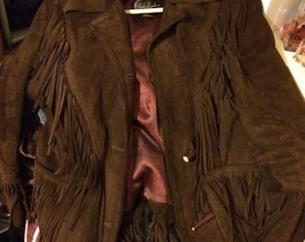 1970s Brown Suede tassel Jacket