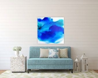 "Original abstract coastal water painting, blue, teal, white, 24x24"" panel, original"