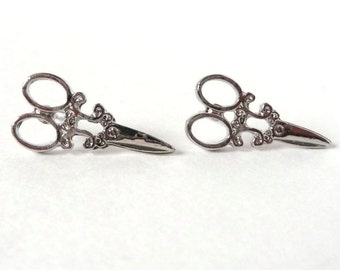 Silver Scissor Stud Earrings Vintage Sewing Craft Steampunk Victorian Quilting Retro