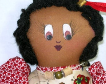 Sally Sew Folk Art Rag Cloth Doll, Raggedy Soft Sculpture, Black Brown Doll Shelf Sitter