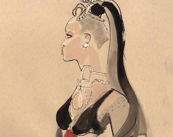 Custom Original Ink Fashion Portrait