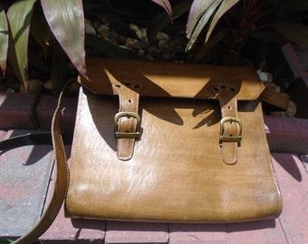 Faded light Brown leather messanger bag  leather laptop bag