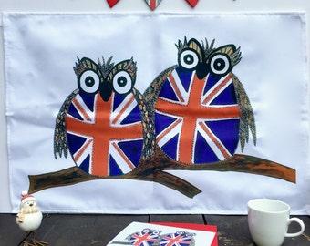 Union Jack Owl Tea Towel