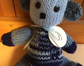 Bear hand knit in denim blue multi with name tag