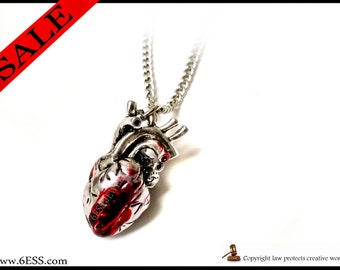 Anatomical Bloody Heart Necklace,Bloody Heart Anatomy Pendant, Anatomical Jewelry,