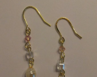Freshwater Pearl and Swarovski Crystal Gold Earrings
