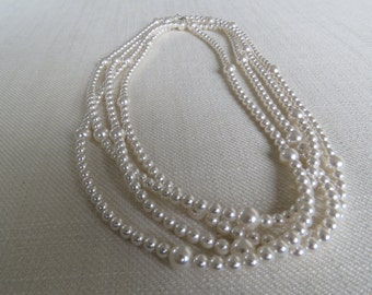 Swarovski White Pearl Long Necklace - 80""