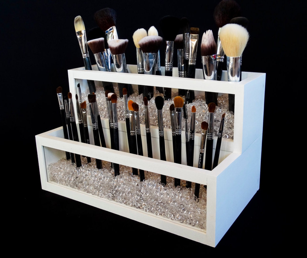 Design Makeup Holder 2 tier wood and acrylic makeup brush holder brush