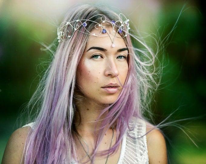 Silver Elven Circlet Purple Elven Crown Wedding Tiara Bridal Crown Medieval crown Fantasy Elven Headpiece Renaissance crown Celtic circlet
