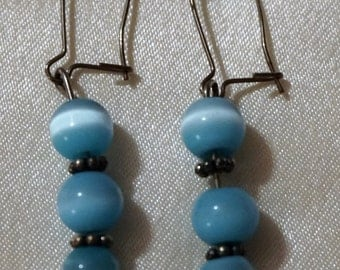blue glass bead earrings with hook closure