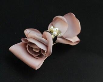 Hand Made Silk Rose Hair Clip