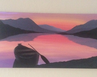 Lake sunset, silloutte boat