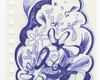 Small Imaginative Abstract Ballpoint Drawing in Blue Ink