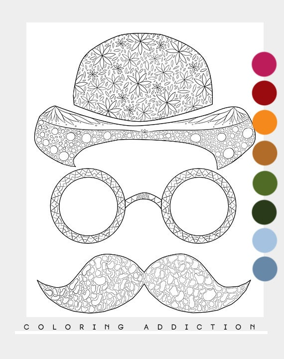 mustache coloring page - items similar to adult coloring page mustache on etsy
