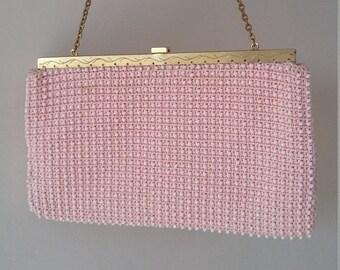 Vintage Pink Beaded Evening Bag