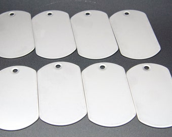 50 pcs - Blank Dog Tags Stainless Steel Military Spec Shiny Matte Finish Rolled Edge Army Style Free Shipping