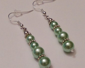 Mint Green Glass Pearl Earrings.