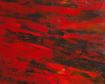 "GEISHA  48"" x 60""  -  Original Abstract Painting (Red, Black, Yellow)"