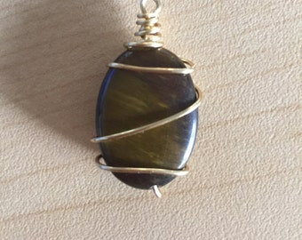 Wire-Wrapped Tiger Eye Pendant